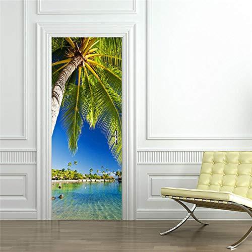 3D türaufkleber bad - 3D Wasserdichte Tür Aufkleber Wohnzimmer Tür Kreative selbstklebende Dekoration See Palm Tree Tür Refurbished Wandaufkleber - DIY Druck Vinyl Abnehmbare -