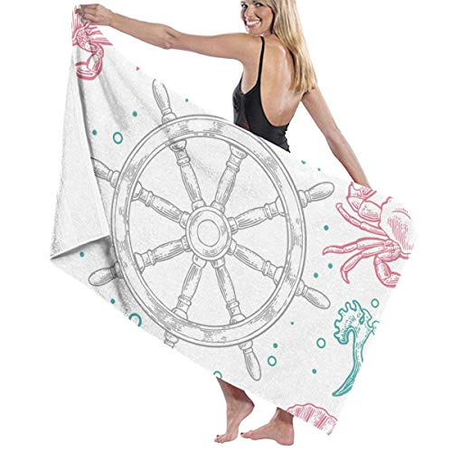 Serviette de bain, Beach Bath Sea Shell Coral Crab and Wheel Personalized Custom Women Men Quick Dry Lightweight Beach & Bath Blanket Great for Beach Trips, Pool, Swimming and Camping 31