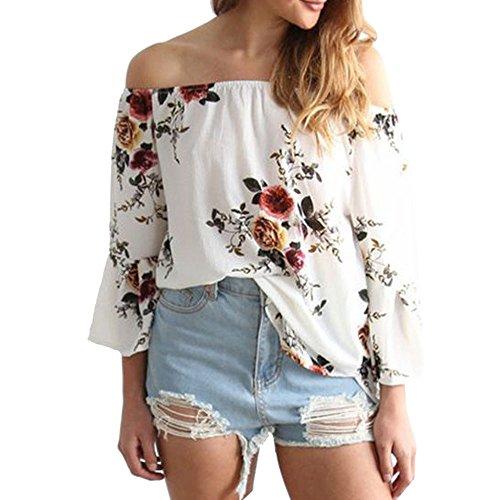 SEWORLD Damen T-Shirt Frauen Beiläufiges Blumendrucken Weg von der Schulter T-Shirt Langarm Oberseiten Bluse (Weiß, M)