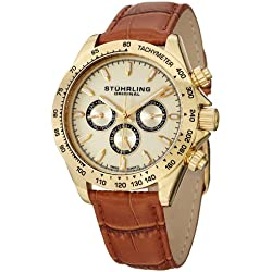 Stuhrling Original Champion Victory Triumph Classic Men's Quartz Watch with Analogue Display and Leather Strap