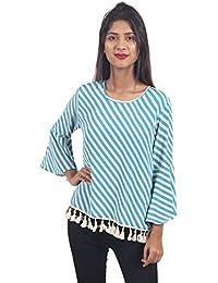 Secret Bazaar Women's Polyester Striped Printed Top(Multicolor)