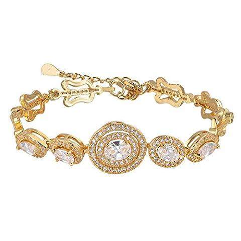 Oven Moda Wedding Day Cadeau Bijoux Cristal Swarovski Eléments Or Plaqué Bracelet à Breloques Bracelets Pour Femmes - 19CM Ladies Blanc Diamant Chaîne