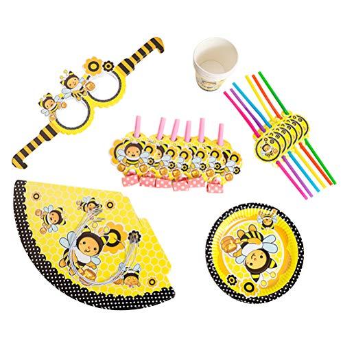 Amosfun 36 stücke Birthday Party Supplies Einweg Pappbecher Strohhalme Platten Blowouts Pfeifen Hut Lustige Sonnenbrille für Biene Thema Baby Shower Geburtstagsfeier