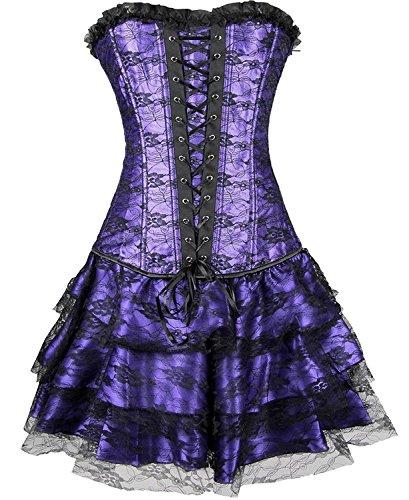 Gothic Korsett elegant Corsage Spitze Korsage Kleid Mini Rock Petticoat Bustier Top mit Tutu Sexy Lila l