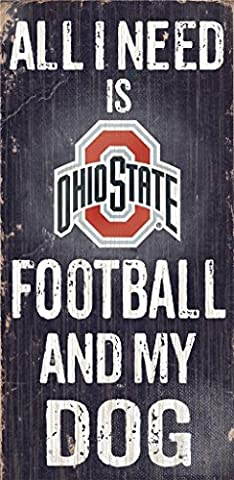 Ohio State Buckeyes Wood Sign – Football et de chien 15,2 x 30,5 cm