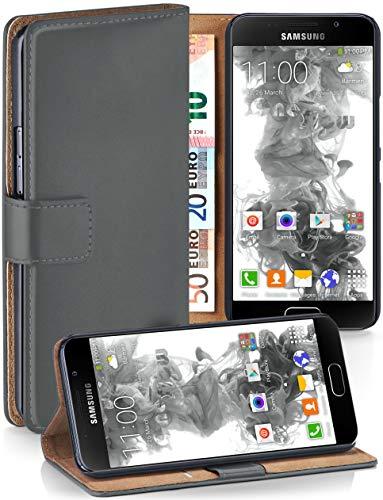 MoEx® Booklet mit Flip Funktion [360 Grad Voll-Schutz] für Samsung Galaxy A5 (2016) | Geldfach und Kartenfach + Stand-Funktion und Magnet-Verschluss, Dunkel-Grau