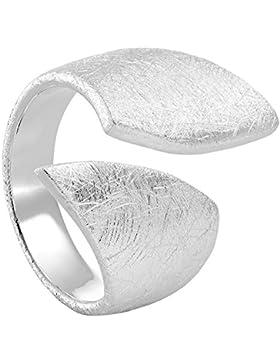 Vinani Ring Flügelring breit offen schlicht gebürstet Sterling Silber 925 anpassbar 2RBD