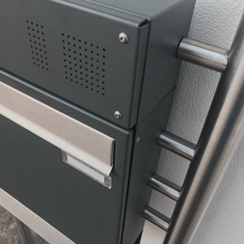 1er Briefkasten, freistehend Design BASIC 381-7016-ZF – Standbriefkasten Edelstahl-Anthrazit-Grau RAL 7016 mit Klingel- Sprechteil & Zeitungsrohr – 150cm Ständer Edelstahl V2A, geschliffen - 5