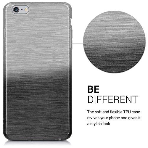 kwmobile Hülle für Apple iPhone 6 Plus / 6S Plus - TPU Silikon Backcover Case Handy Schutzhülle - Cover Metallic Rosegold Brushed Aluminium Farbverlauf Anthrazit Silber