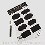 Chalkboard Labels Kit ~ 48x Stickers INCLUDING 6mm white Liquid Chalk Marker Pen 8g ~ 8 Different Trendy Designs ~ perfect for Jam Jars, Beer, Wine, Storage and more ~ Our CHALKBOARD VINYL STICKERS Waterproof, Dishwasher Safe, Self-Adhesive, Reusable & Strong