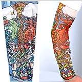 Modello W71 - Manicotto Tattoo - Indossabile - Manica - Tatuaggio Finto - Immagine - Drago - Sole - Pesce - Gatto - Occhio - Nuvole - Spada - Serpente - Tatoo - Mezza Manica - Tribale