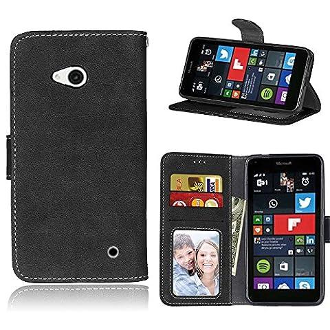 Lumia 640 Coque, SATURCASE Rétro Givré PU Cuir Magnétique Flip Portefeuille Support Porte-carte Coque Housse Étui Pour Nokia / Microsoft Lumia 640 LTE (Noir)
