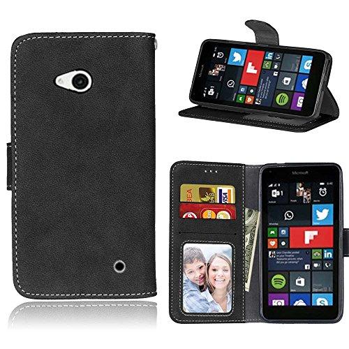 SATURCASE Microsoft Lumia 640 Hülle, Retro Mattiert PU Leder Flip Magnetverschluss Brieftasche Standfunktion Schützend Tasche Schutzhülle Handycover für Nokia/Microsoft Lumia 640 LTE (Schwarz)