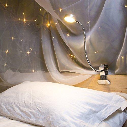 Eyocean Leselampe Buchlampe, Schreibtischlampe LED Büro Tischleuchte 3 Farb- und 9 Helligkeitsstufen dimmbar, Arbeitsplatzleuchten, Leselampe mit Klammer, USB 1.6 m Kabel,Inklusive CE Adapter,Silber