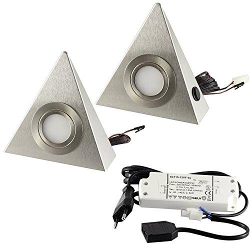 2er Set LED Dreieckleuchte Unterbauleuchte Küchenleuchte Küche LED EDELSTAHL 3x3W Warmweiß 3000K mit Zentralschalter