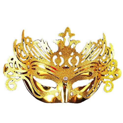 (JASNO Kinder Unisex Masquerade Half Face Gold Pulver Crown Maske Ghost Festival Kostüm Kostüm Kindertag Party 5-Teiliges Set, Multicolor,Gold)