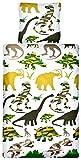 Aminata Kids - Kinder-Dino-Bettwäsche-Set 135-x-200 cm Dino-saurier-Motiv T-Rex Urzeit-Tier 100-% Baumwolle Weiss-e dunkel-Gruen-e
