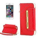 Fashion & simple Custodia in pelle con custodia in lana e card slot e tasca monetaria per iPhone 6 Plus e 6S Plus ( Color : Red )