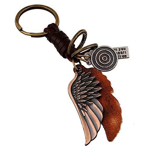 Fengteng Legierung Schlüsselanhänger Kleine Geschenke Männer und Frauen Retro Engel Flügel Geflochtenes Leder Punk Keychain ()