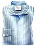 Business-Casual-Hemd Super Slim Fit mit Dreherstruktur und Streifen in Himmelblau & Weiß Knopfmanschette