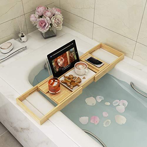ubehör Rutschfeste Bambus-Badezimmer-Gestelle Badezimmer Einziehbares Badewannen-Gestell Multifunktions-Badewannen-Gestell Handy-Gestelle Bambus-Holzfarbe ()