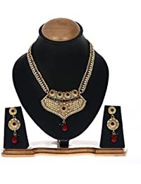 Zeneme Traditional Gold Plated Long Necklace Set / Jewellery Set With Earring For Women And Girls