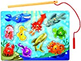 Melissa & Doug Magnetic Wooden Fishing Game with Magnetic Fishing Pole Bundle
