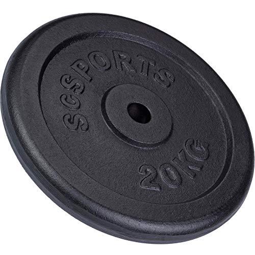 ScSPORTS - Pesa en Forma de Disco para halteras 20 kg, Hierro Fundido