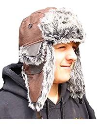 New Mens Ladies Unisex Unisex Fur Trim BERT Faux Leather Winter Trapper Hat