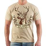 Männer und Herren T-Shirt Meine Lederhose trägt noch der Hirsch Größe S - 8XL
