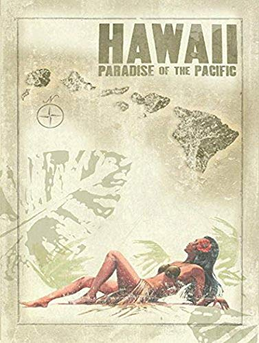 Harvesthouse Hawaii Map Wahine, Metal Sign, Paradise of The Pacific, Hula by - Pacific Pod