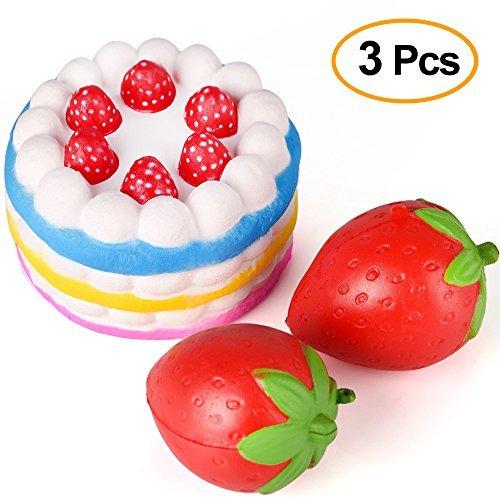 Kuuqa 3 pièces Squishies Rising lente Jumbo Rainbow Gâteau épluché et Charnières aux fruits à la fraise Jouets squash Jouets de soulagement du stress Favors de fête (Couleur aléatoire)