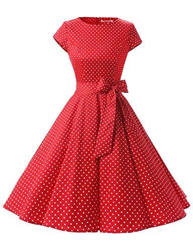 Dressystar Damen Vintage 50er Cap Sleeves Dot Einfarbig Rockabilly Swing Kleider Rot Weiß Dot A L