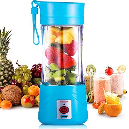 Licuadora portátil, tamaño personal USB Juicer Cup, máquina mezcladora de frutas de 380 ml con 6 cuchillas para el hogar y viajes, batido y batido de leche