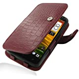 HTC OneX+ Leather Case - Book Type (Red Crocodile Pattern) by Pdair