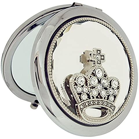 Sophia Compact Mirror Silver-Plated Round Pocket Mirror With Rhinestone Set Crown SC1124