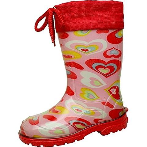 BOCKSTIEGEL® EIKE Bambini - Stivali di gomma alla moda (Taglie: 20-35), Colori:Red/Multi;Dimensioni:28