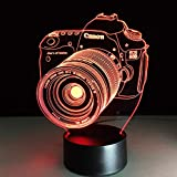 Novelty 3D Entertainment Camera Illusion Led Lamp Usb Table Light Sleeping Night Light Romantic Bedside Decor Light Fixture Gift