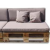 Nordje Palettenkissen Set Comfort bestehend aus Sitzkissen (120 x 80 cm) und Lehne (120 x 40 cm) für Ihre Outdoor Palettenlounge (taupe) inkl. Dekokissen (2 Stück)