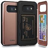 TORU CX Pro Coque Galaxy A5 2017 Carte Rose avec Fente Cartes de Crédit Caché et Miroir pour Samsung Galaxy A5 (2017) - Or Rose