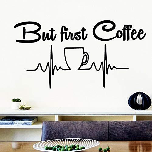 SLQUIET Spaß erste Tasse Kaffee Cartoon Wandaufkleber PVC Wandkunst DIY Poster Küche Dekoration Hause Tapete Wandaufkleber Mode Aufkleber Rosa M 30 cm x 57 cm
