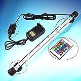 RunQiao 62CM RGB Aquarien LED Aquariumbeleuchtung Beleuchtung Aufsetzleuchte Fernbedienung Fische Wasserdicht Aquarium Lampe