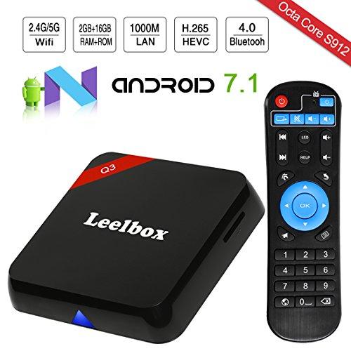 [2018 - Ultima Generazione] Leelbox Q3 Android 7.1 TV Box di 2GB RAM+16GB ROM Smart TV Box con S912 Supporta Dual-WIFI 2.4GHz+5.8GHz/1000M LAN/Octa Core CPU