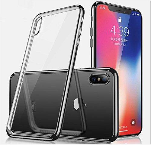 Preisvergleich Produktbild iPhone X Hülle , [Kabelloses Aufladen Unterstützung], iPhone X Case, iPhone X Handyhülle, Roreikes[Anti-Rutsch] Clear Shockproof Stoßdämpfer Transparent Galvanisieren Silikon TPU Ultra Thin Soft Cover für Apple iPhone X / iPhone 10 (5.8Zoll)