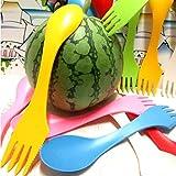 HuntGold 6X Spoon Fork Knife Cutlery Set Camping Hiking Utensils Spork Tableware 3 in 1(multicolor)
