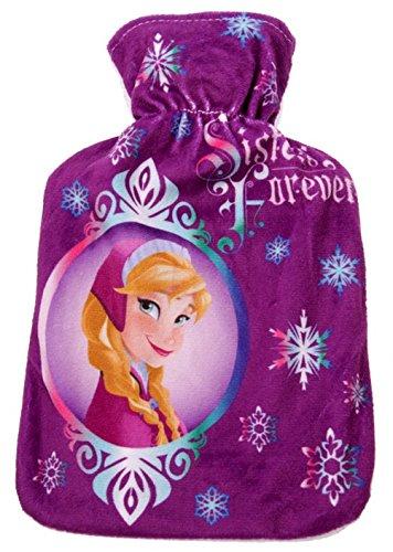 Disney Wärmflasche Frozen, 1 l, Farbe: lila, mit Plüsch-Bezug, Abmessungen: 28 x 16 x 6 cm, Flasche aus Kunststoff, Plüschhülle aus Polyester, waschbar bei 30 Grad, mit Prinzessin Elsa ()