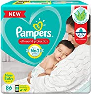 Pampers All round Protection Pants, New Born, Extra Small size baby diapers (NB/XS), 86 Count, Anti Rash Diape