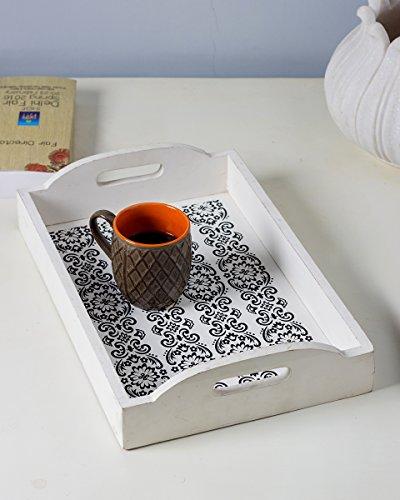 Rettangolare Vassoio con la mano intagliato Black & White Designs & routing Maniglie per un facile trasporto Serveware Accessori Cucina