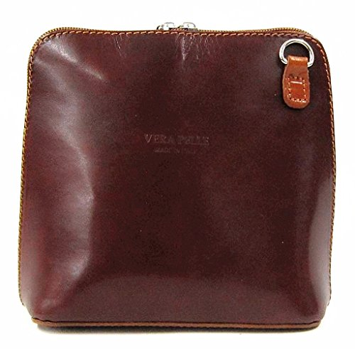 Vera Pelle Italiana Piccolo Croce Corpo Borsa o borsa a tracolla Purple Small Tan Coffee