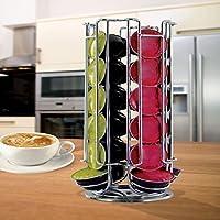 Portacapsule da caffè rotante 24 slot per Dolce Gusto - Contiene 24 capsule in 4 differenti sezioni - Rotante 360° - Costruzione di metallo robusta - Finitura cromata secca - Base antiscivolo